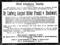 Ludwig August von Frankl death notice.png