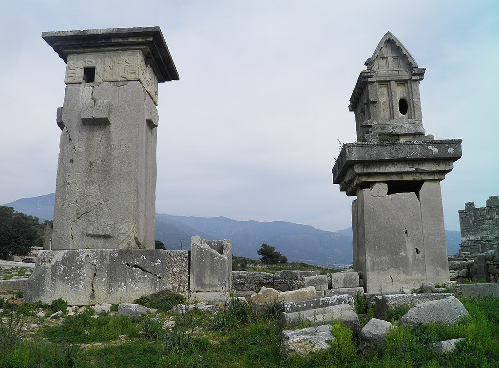 Lycian monumental tombs, the Harpy tomb and the pillared sarcophagus, Xanthos, Lycia, Turkey (8825052666)