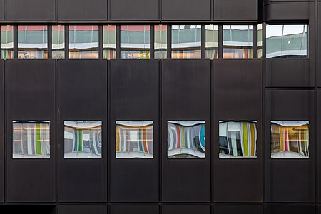 Facade of an office building of the Westdeutsche Lotterie, Münster, North Rhine-Westphalia, Germany