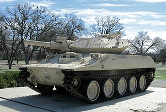 Fort Hunter Liggett - A Sheridan M551A1 is displayed within the base near the main entrance