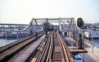 Charlestown Elevated - An Orange Line train on the Charlestown Bridge in 1967