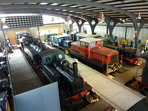 Gijón Railway Museum - An overview of part of the museum.