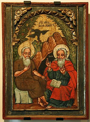 Enoch (ancestor of Noah) - Elijah and Enoch - seventeenth-century icon, Historic Museum in Sanok, Poland