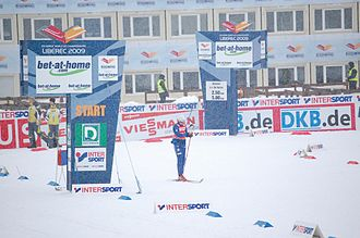 FIS Nordic World Ski Championships 2009 - Unidentified skier during the women's 4 x 5 km relay event at the championships on 26 February 2009.