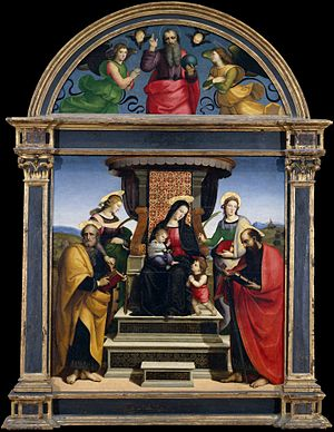 Madonna and Child Enthroned with Saints (Raphael) - Image: Madonna and Child Enthroned with Saints