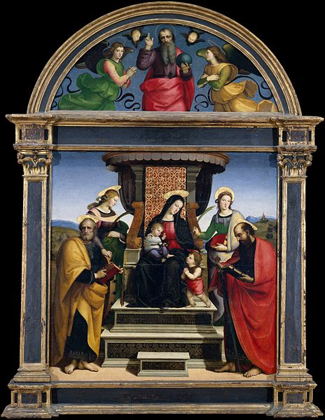 Ficheiro:Madonna and Child Enthroned with Saints.jpg