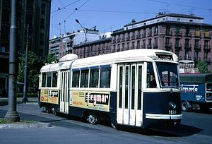 PCC streetcar - Spanish-built Fiat/PCC running in Madrid in 1969