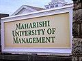 Maharishi University of Management sign, Fairfield IA.JPG