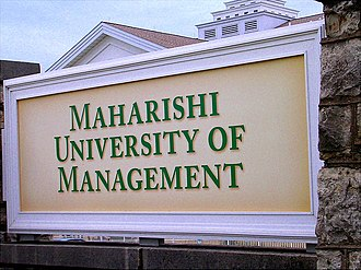 Maharishi University of Management - University sign at campus entrance