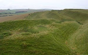 Maiden Castle, Dorset - Maiden Castle's southern defences were made up of four ramparts and three ditches.
