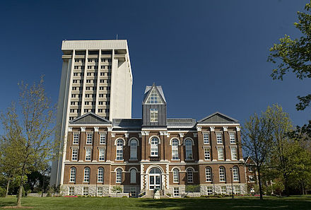The Main Building in the foreground and the Patterson Office Tower in the background Main Bldg (UK).jpg