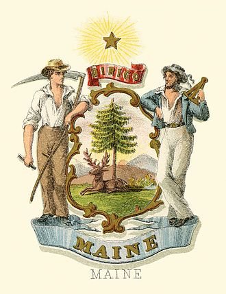 Seal of Maine - Image: Maine state coat of arms (illustrated, 1876)