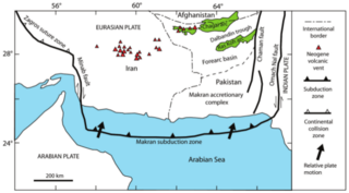 A subduction zone along the northeastern margin of the Gulf of Oman adjacent to the southwestern coast of Balochistan of Pakistan and the southeastern coast of Iran