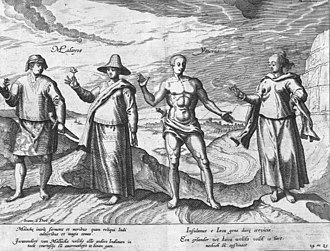 """Malayisation - The Malays and the Javanese, hand-coloured copper engraving from Jan Huyghen van Linschoten's, Itinerario, 1596. The legend reads """"Inhabitants of Malacca, the best speakers, the most polite and the most amorous of the East Indies. Inhabitants of Java, who are hard-headed and obstinate."""""""