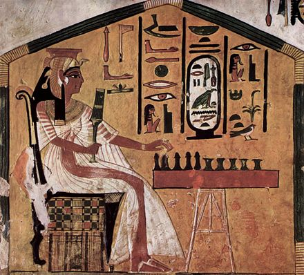 A painted depiction of Senet (in the tomb of Queen Nefertari, Valley of the Queens, Thebes, Egypt), one of the world's earliest known board games. - Ancient Egypt