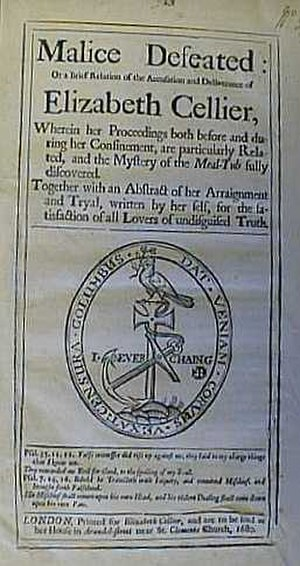 Pamphlet wars - Front page of the pamphlet Malice Defeated published in 1680