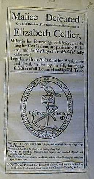 Elizabeth Cellier - Front page of the pamphlet Malice Defeated published in 1680 by Elizabeth Cellier to defend her reputation from charge of treason on which she had just been acquitted.