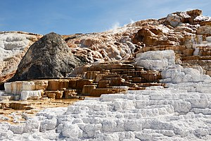 Travertine - Travertine terraces at Mammoth Hot Springs, Yellowstone National Park in 2016