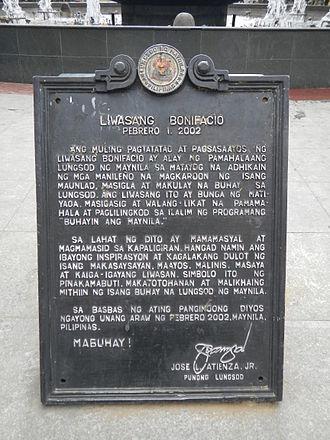 Parián (Manila) - Liwasang Bonifacio, Parián marker
