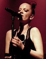 Lead singer, Shirley Manson, performing live in 2012