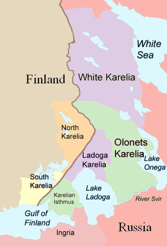 Battle of Ilomantsi - Parts of Karelia, as they are traditionally divided.