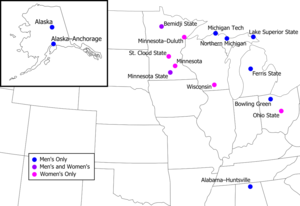 Western Collegiate Hockey Association - Locations of Western Collegiate Hockey Association member institutions.