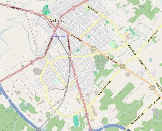 Map Amherst Nova Scotia