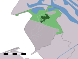 The town centre (dark green) and the statistical district (light green) of Oostvoorne in the municipality of Westvoorne.