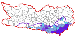 Map at carinthia municipalities (Slovenes) 1971.png
