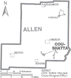 Allen Parish, Louisiana - Map of Allen Parish, Louisiana With Municipal Labels