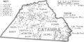 Map of Catawba County North Carolina With Municipal and Township Labels.PNG