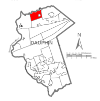 Map of Dauphin County, Pennsylvania highlighting Mifflin Township