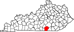 State map highlighting Wayne County