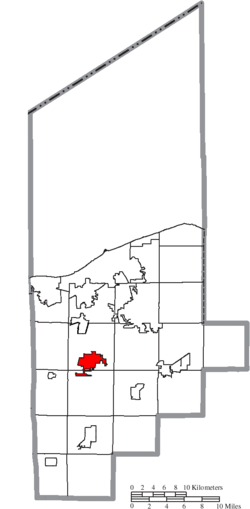 Location of Oberlin in Lorain County