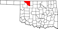 Map of Oklahoma highlighting Woods County