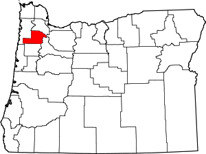 Map of Oregon highlighting Yamhill County