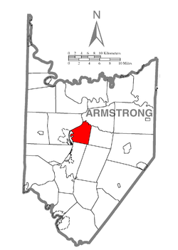 Map of Armstrong County, Pennsylvania highlighting Rayburn Township