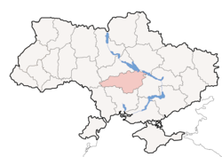 Location o Kirovohrad Oblast (red) athin Ukraine (blue)