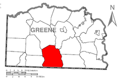 Map of Wayne Township, Greene County, Pennsylvania Highlighted.png