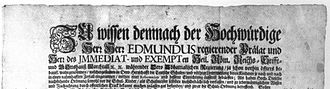 "Imperial immediacy - Document signed by the Abbot of Marchtal, ""immediate and exempt"""