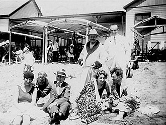 History of Mar del Plata - Tourists at the beach, c. 1930