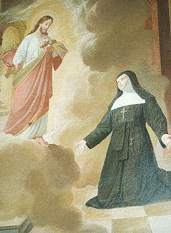 Santa Margherita Maria Alacoque con il Sacro Cuore di Gesù.