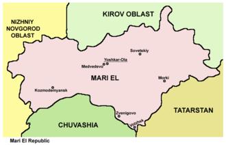 Mari El - Map of the Mari El Republic