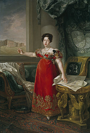 Maria Isabel of Braganza - Isabel depicted in front of Prado, 1829, by Bernardo López y Pique