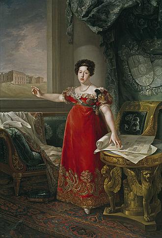 Maria Isabel of Braganza - Isabel depicted in front of Prado, 1829, by Bernardo López y Pique