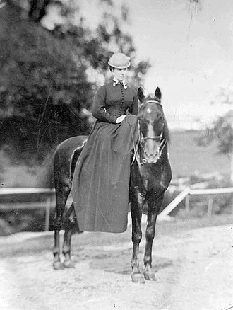 Beverly Farms - A photograph of Marian Hooper Adams riding on horseback in Beverly Farms.