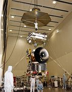 Mars Climate Orbiter during assembly