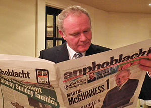 An Phoblacht - Martin McGuinness reading a copy of An Phoblacht. The newspaper endorsed him during the Irish presidential election, 2011