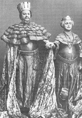 King Claudius - Russian actor Nikolai Massalitinov as Claudius with Olga Knipper as Gertrude in the Moscow Art Theatre production of Hamlet (1911–1912).