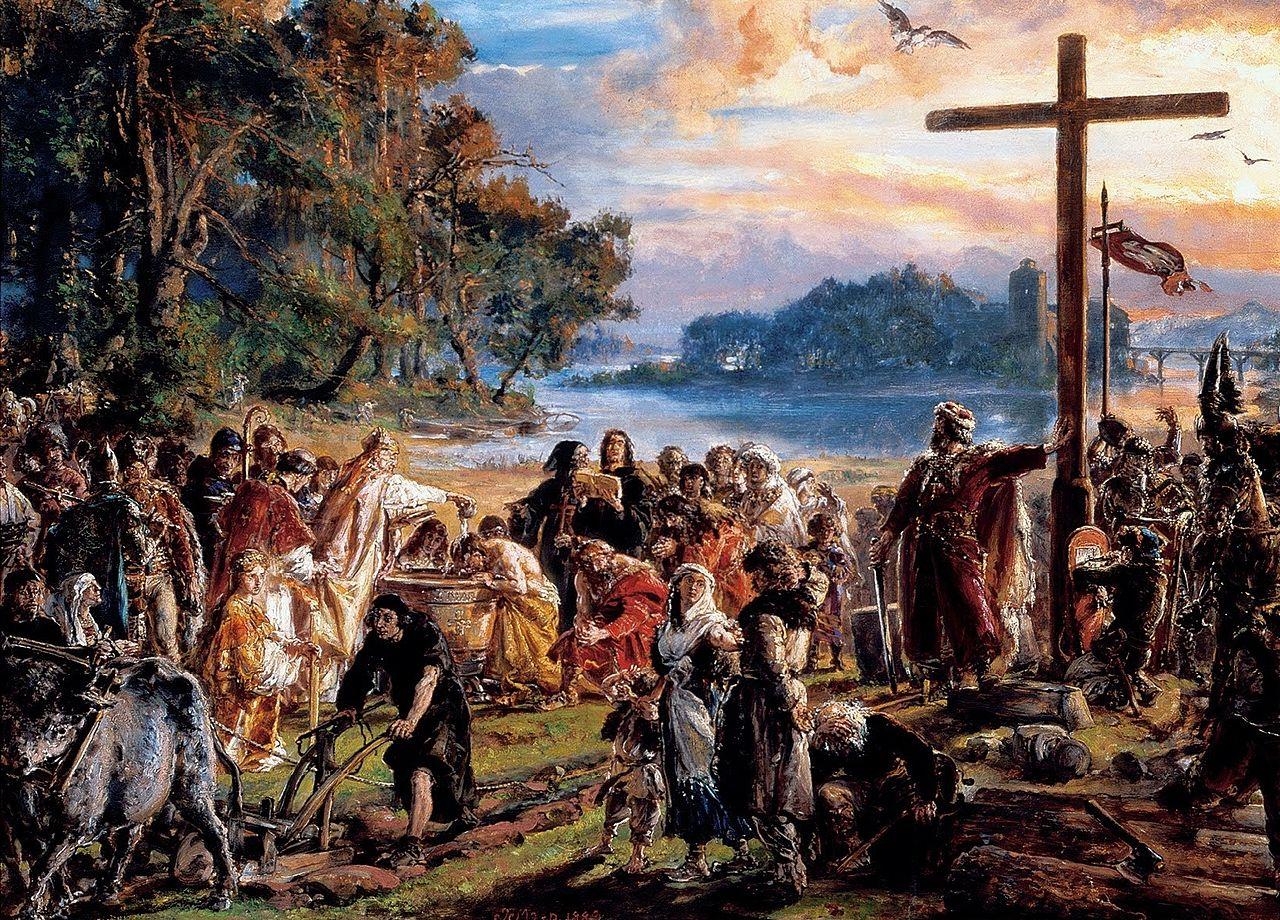 Matejko, zaprowadzenie chrześcijaństwa, 966, chrzest Polski, chrzest Mieszka I, Mieszko I, Piastowie